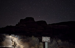 Night Hiking, Fiery Furnace (KRHphotos) Tags: utah landscape archesnationalpark nature exposureblend trail nightphotography sign stars paintingwithlight sandstoneformation lightpainting