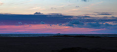 Ship on the Horizon (cathbooton) Tags: windturbines sea beach canonusers canon6d canoneos wirral coast colours pink purple clouds sky summer sunset transport boat ship horizon