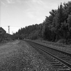 Levack Station (CraigG144) Tags: 6x6 blackwhite blackandwhitenegative bronica camera film kodaktrix320 levack levackstation mediumformat ontario photography sqam windylake season time places
