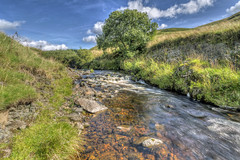 Wedder Leap (ca2cal) Tags: england northumberland barrowburn farm wedded leap wedderleap river coquet rivercoquet valley coquetvalley cheviot national park northumberlandnationalpark rural sky skyscape cloud landscape water waterscape hdr website project366 tree rock motionblur