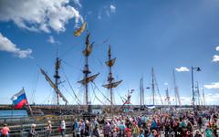 Shtandart Scene (Dion Cragg) Tags: blyth tallships boat sailship masts flags russia russian shtandart hdr sailingships people
