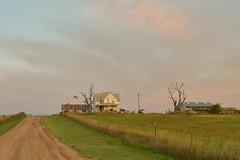 Kansas Farm Home at Sunrise (thefisch1) Tags: farm home prairie kansas farming land flag driveway sky fence equipment enterprise free work hard values ethics reality country wind living america labor