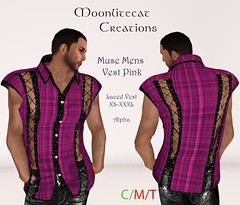 Muse Mens Vest Pink Ad Pic (moonlitecat) Tags: hunt your inner slut moonlitecat creation mesh slink belleze maitreya fimesh rigged high heel collar gacha spikes leather punk skirt haltertop halter top laced vest mens men women womens moon moonlite hudded texture change