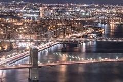Brooklyn, Manhattan, and Williamsburg Bridges (RBudhu) Tags: brooklyn brooklynbridge cityscape eastriver fidi financialdistrict longexposure lowereastside manhattanbridge newyorkcity twobridges williamsburgbridge