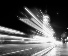Frozen Light - London by Simon & His Camera (Simon & His Camera) Tags: city bigben urban london lines light trails roads blackandwhite bw blur abstract building black contrast distorted iconic monochrome moon night outdoor simonandhiscamera tower white