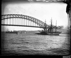 Chilean naval vessel GENERAL BAQUEDANO and tug in Sydney Harbour, July 1931