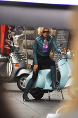 Model on a Vespa 2 (Smith-Bob) Tags: street ladies people woman beautiful sunglasses leather lady scarf model vespa boots candid posing bikes melbourne scooter emirates airline advert blonde redlips filming leatherjacket sunnies etihad tvad