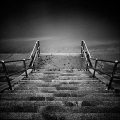 Going Down ..... to the sea again ... (Petur) Tags: longexposure sea blancoynegro blackwhite steps granite railings cliche blackdiamond absoluteblackandwhite redmatrix
