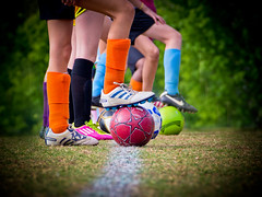 soccer feet at starting position (megscapturedtreasures) Tags: girls feet sports up field grass youth ball foot team shoes legs soccer balls line fields ready position league starting cleats lined thechallengefactory