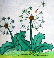 Wishes (r_henisey) Tags: art watercolor painting whimsy dandelion wish hangon