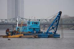 Taedong River Pyongyang, North Korea (Joseph A Ferris III) Tags: bridge river boat dredge northkorea pyongyang dprk juche taedongriver
