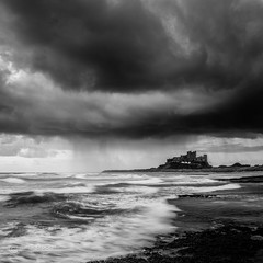 Rain over the castle (images through a lens) Tags: sea storm castle rain coast northumberland northsea northeast bamburgh