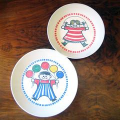 Swedish kids. (Kultur*) Tags: kids vintage 60s sweden kultur plate bowl swedish retro 1960s scandinavian midcentury ornamin