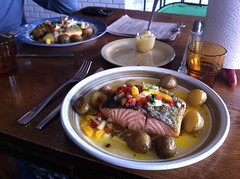 Dinner: Salmon and Potatoes (alykat) Tags: dinner iceland potatoes salmon reykjavik iphone kex iphone4 kexhostel