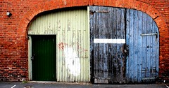 Keep clear! Old Garage East Street Hereford # Dailyshoot (Leshaines123) Tags: street city monochrome project king doors cathedral herefordshire names hereford bishop plaques