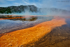 The Purgatory (Dan Mihai) Tags: blue orange brown hot nature water colors landscape nationalpark stream acid vivid steam trail earthy yellowstonenationalpark yellowstone wyoming bacteria hotsprings purgatory acidpools