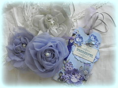 Blue rosettes (AllThingsPretty...) Tags: french rosettes blueroses fabricroses bluesilk handmaderoses