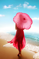 Stroll (ilina s) Tags: ocean pink sea sky sun mist flower beach fog clouds umbrella walking ruffles daylight sand day dress wind lace wave clear barefoot breeze strolling