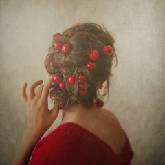 Red, or the woman with the cherries in her hair. (Ana Lusa Pinto [Luminous Photography]) Tags: red selfportrait color texture girl self hair cherry back hand series conceptual luminousphotography luminouslu analusapinto