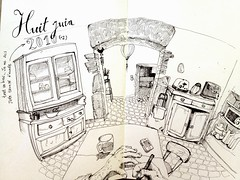 Fisheye kitchen (Tazab) Tags: moleskine kitchen illustration cuisine sketchbook dessin fisheye maison encre croquis carnet encredechine tazab