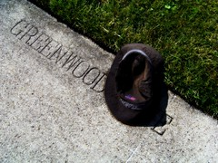 On Greenwood Avenue (Renee Rendler-Kaplan) Tags: etched abandoned wet grass hat june corner gbrearview kodak band americanflag diagonal sidewalk chapeau inside suburb kodakeasyshare streetcorner left dropped apparel gapersblock 2012 wbez americanmade skokie hatsoff headcovering madeinamerica chicagoist idid wethat skokieillinois heresyourhatwhatsyourhurry weleftit reneerendlerkaplan rightonit itisntours picassoishfaceinsideseeit ongreenwoodavenue laidthere gowhomever whatdesiandisawonthecornerofgreenwoodavenue doffonescap