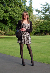 In The Park (Starrynowhere) Tags: black public dress outdoor emma mini tights crossdressing tgirl transgender tranny transvestite heels opaque pantyhose crossdresser minidress transvestism
