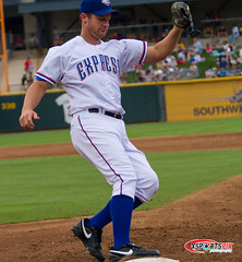 Roy Oswalt gets the out at First (TxSportsPix) Tags: sports texas baseball express rangers roundrock oswalt mlb delldiamond roundrockexpress 14x royoswalt milb canon7d txsportspix canon7d70200lf28