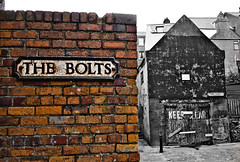 Scarborough. The Bolts. (CWhatPhotos) Tags: pictures street sea orange color colour brick sign wall that bay back seaside foto with image pics south side bricks north picture down pic olympus run images pop have part photographs photograph fotos coloring bolts scarborough which colouring contain partial selective popping thebolts epl1 cwhatphotos