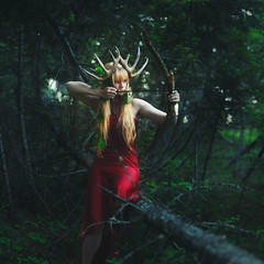 The Lady of Wild Things (Brad.Wagner) Tags: trees red green brad forest dress horns antlers bow crown arrow artemis wagner mcknight crecent kaity
