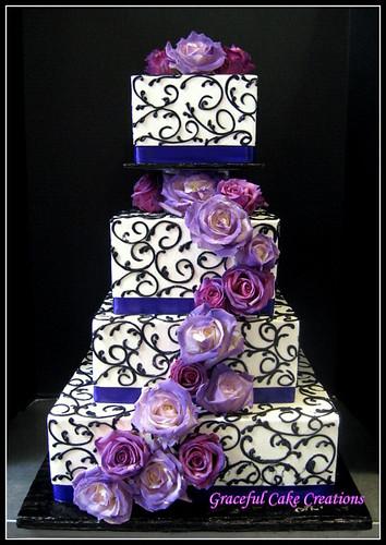 Elegant Purple And Black Square Wedding Cake A Photo On Flickriver