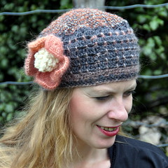 Upcycled wool fabrics + crocheted crown (Kiwi Little Things) Tags: flower crochetedhat upcycling