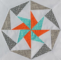 Block for PurplePandaQuilts (jenjohnston) Tags: orange grey star aqua pinwheel quiltblock paperpieced quiltingbee
