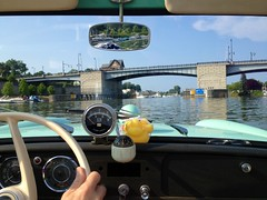 Cruising in the Amphicar (-dangler) Tags: bridge summer ny car river boat convertible rochester greece 1967 genesee nys amphicar wny orourke