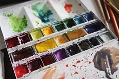 The Paint Set I took to Paris (noriko.stardust) Tags: set watercolor sketch paint box sketching blogger sketchbook half kit pan palette ws winsorandnewton enamelled