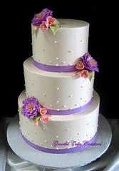 Elegant Ivory Wedding Cake with Purple Peonies (Graceful Cake Creations) Tags: pink flowers wedding cake gum purple swiss paste traditional peach ivory lavender dot ribbon elegant simple peonies freesia