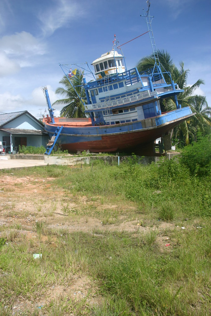 Stranded fishing boat after the tsunami, Khao Lak, Southern Thailand