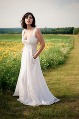 Londa (iFlook) Tags: portrait beautiful beauty wisconsin nikon madison retouch londa sunflowerfield popefarmpark d5000 longwhitevintagedress