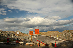 Road Closed / Chemin Ferm (#1393) (protophotogsl) Tags: clouds construction bluesky roadclosed constructionsite underconstruction ~ chemin edit fermrocklandontarioroadnew roadbarrierconesrocksgravelcurbprotophotogsl177