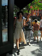bleecker  parade (omoo) Tags: newyorkcity girls westvillage parade sidewalk shoppers streetscenes greenwichvillage bleeckerstreet girlwithacellphone girlwithamobilephone dscn9038 passingjimmychoo bleeckerbetweenwest11thandbank bleeckerstreetparade