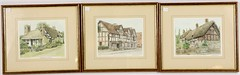 42. Three English Colored Prints of Tudor Houses