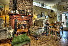 The Haven Cafe (elementalPaul) Tags: wood stone scotland cafe fireplace edinburgh pentax newhaven freehand hdr photomatixpro 5xp k10d pentaxk10d wingbackchairs thehavencafe greenstool