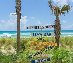 Sign post @ Hyde Beach (SmileForPic) Tags: ocean blue sea sun hot beach palms sand waves florida miami sunny atlantic signpost turqoise