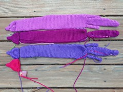 Four vinxes in various states of doneness (crochetbug13) Tags: crochet crocheted crocheting purple orchid mink minks stole accessory minkstole veganmink vinx vinxes diy