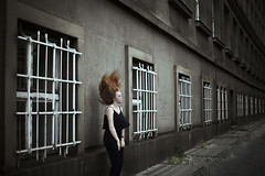 Rise (milanvopalensky) Tags: street city portrait woman girl female canon dark hair 50mm ginger alone darkness czech prague wind surrealism 14 surreal praha redhead ii 5d concept conceptual makr