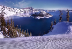 Winter Blues (Explored) (Sapna Reddy Photography) Tags: blue winter lake snow mountains water oregon nationalpark nps outdoor seasonal blues craterlake