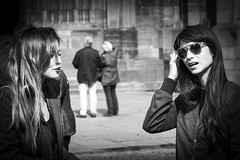 The girlfriends, separating... (Periades) Tags: bw blackandwhite blackwhite candid cheveux fille femme girl glasses girlfriends human hair lunettes nb noiretblanc photoderue rue streetphotography street streethuman woman