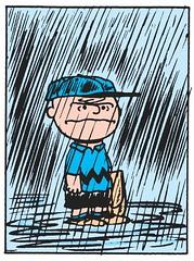 Charlie Brown in the rain (Tom Simpson) Tags: peanuts charliebrown comics comicstrip vintage illustration charlesschulz charlesmschulz rain raining baseball funny 1955 1950s art