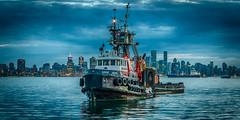 Tugboats at the Quay (Sworldguy) Tags: tugboat northvanvcouver northshore lonsdale quay harbour vancouverharbour cityscape skyline burrarddrydock shipyard hdr highdynamicrange clouds skyscape waterfront nikon bluehour tonemapped wideangle tourism market