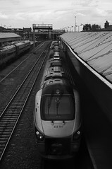 222101, Nottingham (JH Stokes) Tags: 222101 class222 dmu dieselmultipleunits blackwhite monochrome publictransport trains trainspotting tracks transport railways photography meridian eastmidlandstrains emt nottingham