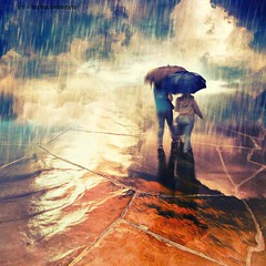 No matter a sunny afternoon outside when the weather inside is bad... (Silvia Andreasi (Images Beyond Mirror)) Tags: silviaandreasi imagesbeyondmirror clouds rain raindrops outside umbrella misty mistiness people horizon storm reflection sadness winter fineartphotography conceptualphotography surrealism surreal colours blue orange contrast texture creativity photomanipulation